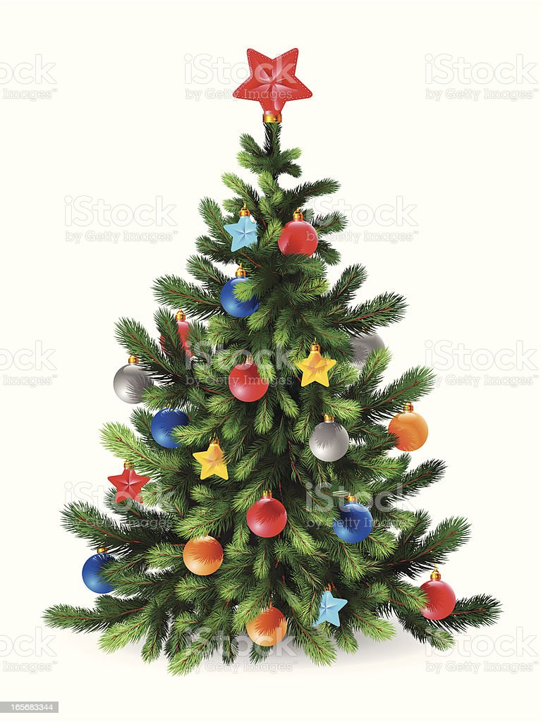Decorated Christmas tree with a red star topper, on white royalty-free stock vector art