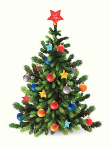 Decorated Christmas tree with a red star topper, on white