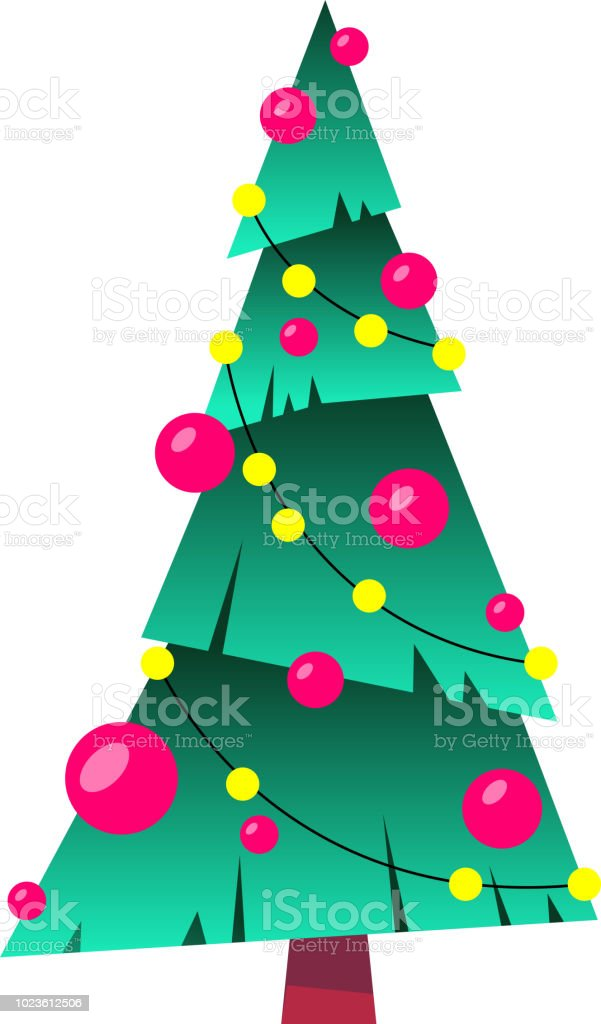 Decorated Christmas Tree With Balls And Lamps Star Merry Christmas