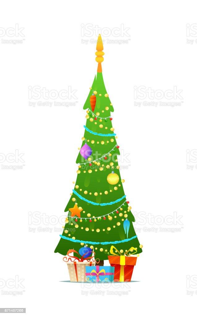 8e1d0dd254884 Ilustración de Decoración Árbol De Navidad Con Cajas De Regalo ...