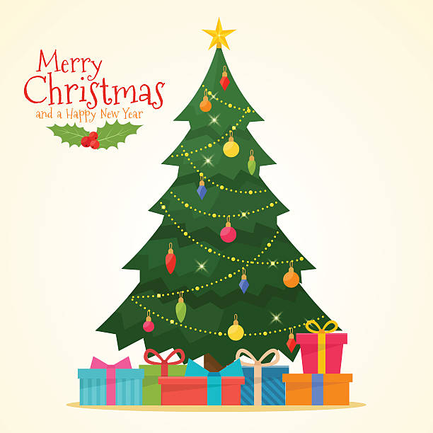 ilustrações de stock, clip art, desenhos animados e ícones de decorated christmas tree with gift boxes - christmas tree