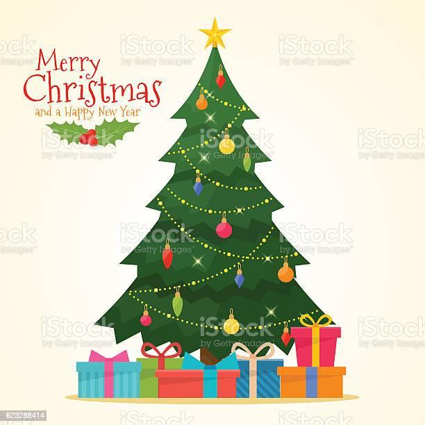 Decorated Christmas Tree With Gift Boxes Stock Vektor Art und mehr Bilder von Altertümlich
