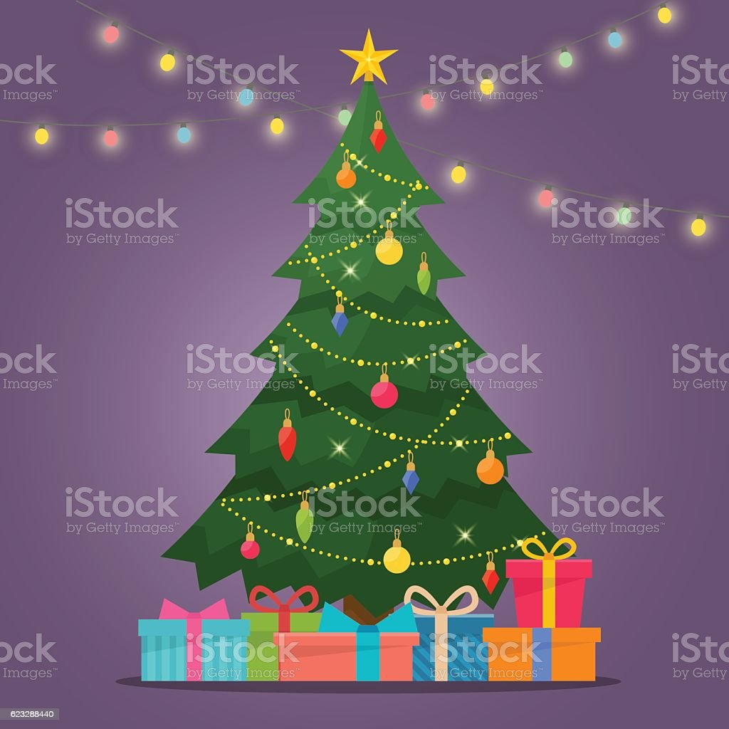 Decorated christmas tree with gift boxes vector art illustration
