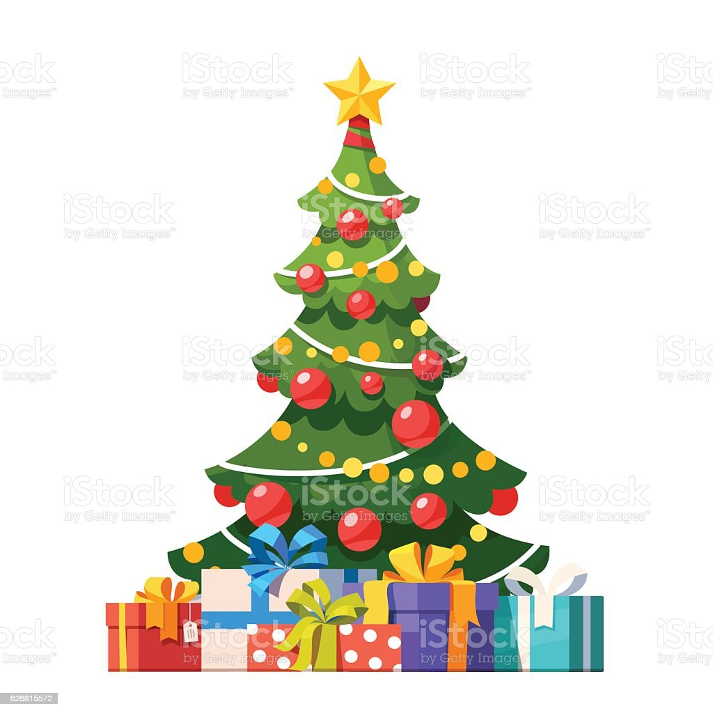 Decorated christmas tree with lots of gift boxes vector art illustration