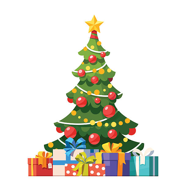 ilustrações de stock, clip art, desenhos animados e ícones de decorated christmas tree with lots of gift boxes - christmas tree