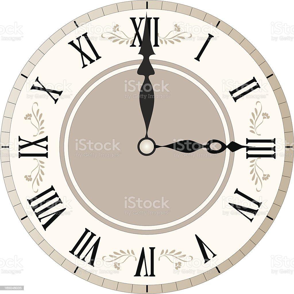 Decorated Clock Face vector art illustration