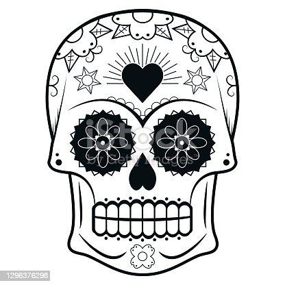 istock Decorated Day of the Dead sugar skull or calavera 1296376298