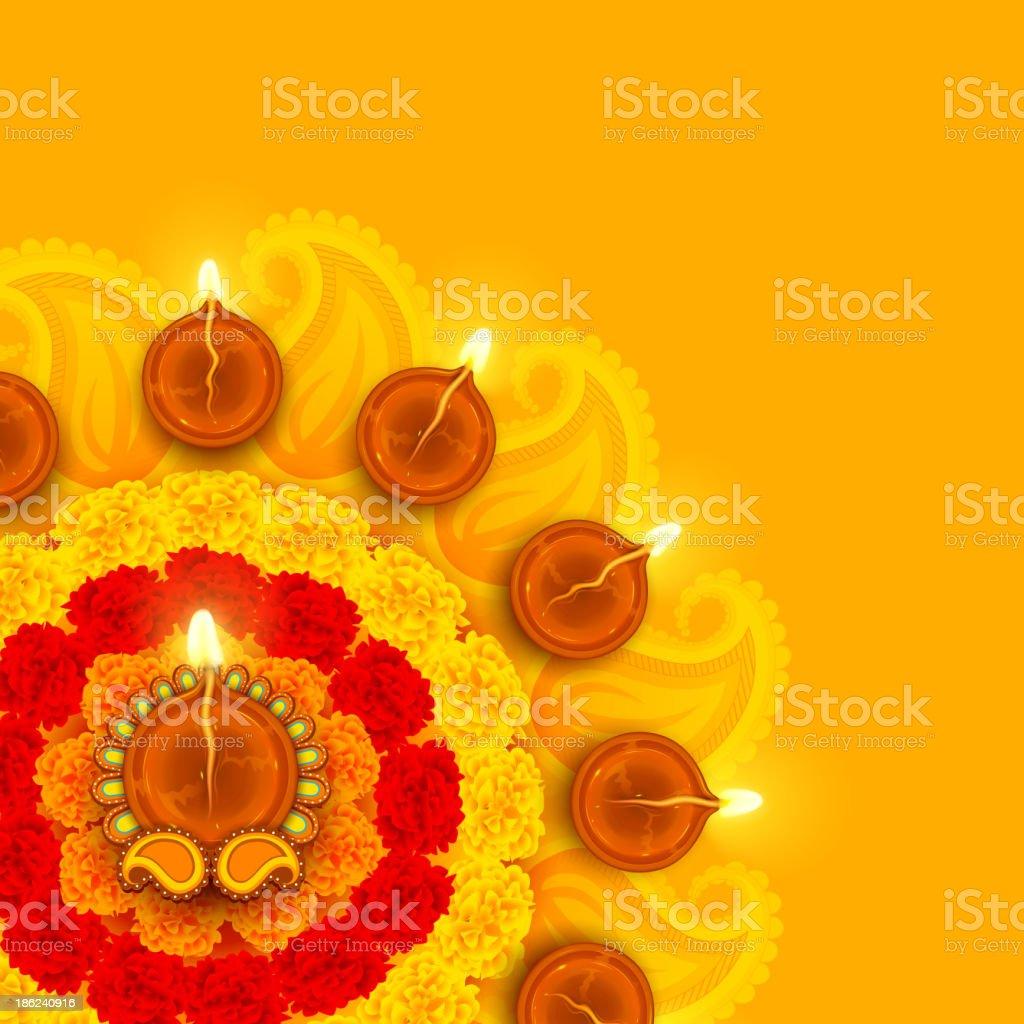 Decorated Diwali Diya on Flower Rangoli vector art illustration