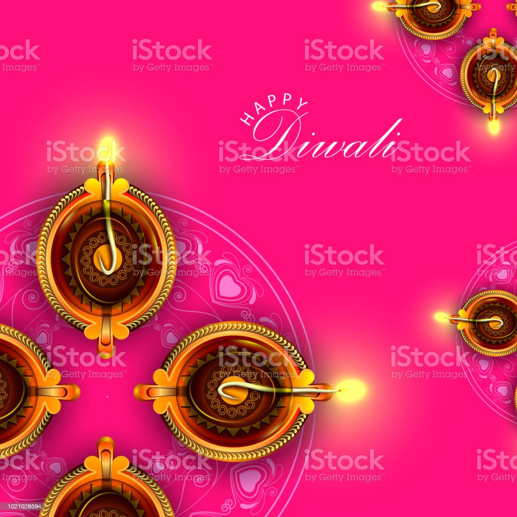Decorated Diya For Happy Diwali Festival Holiday Celebration Of
