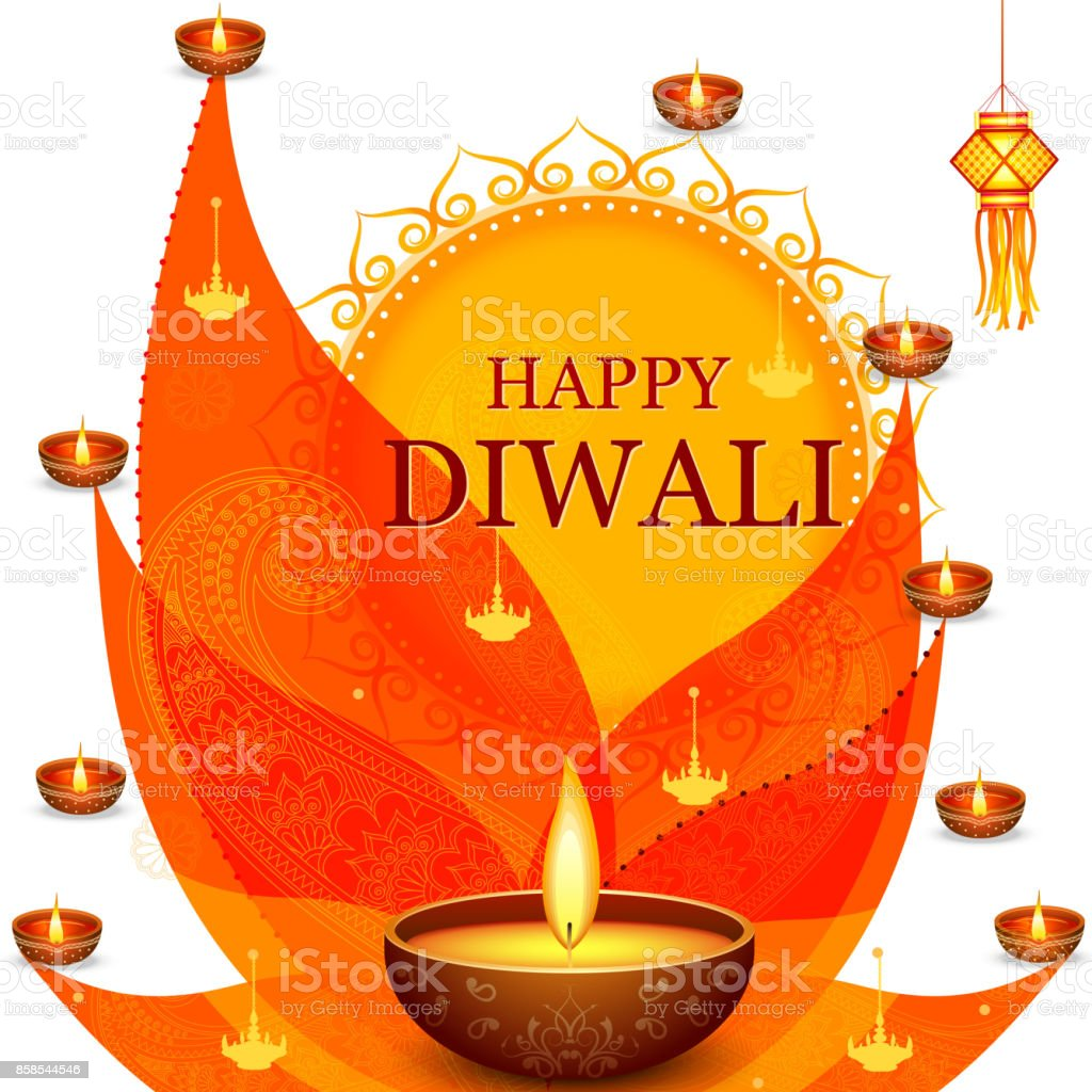 Decorated Diya For Happy Diwali Festival Holiday Celebration Of