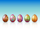 Decorated Easter eggs on a white background