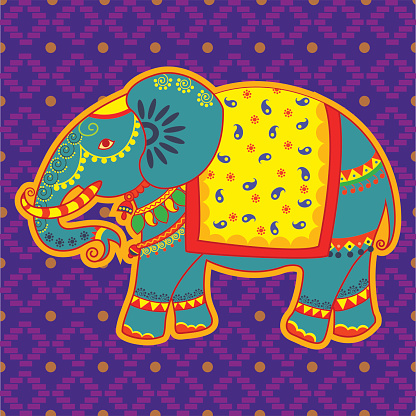 Decorated elephant in Indian art style