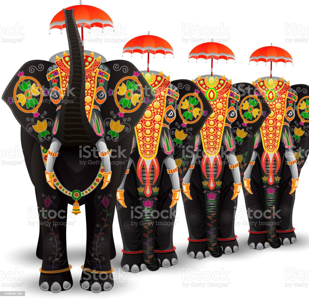 Decorated Elephant of South India royalty-free stock vector art