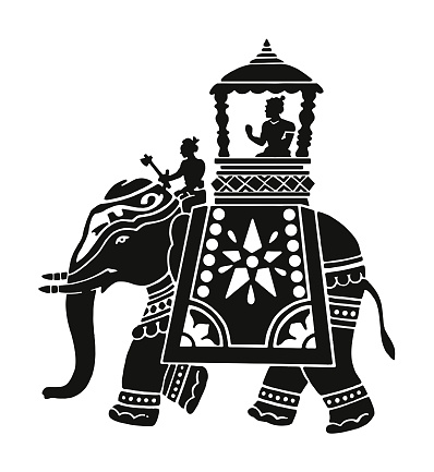Decorated Elephant with Rider in Carriage