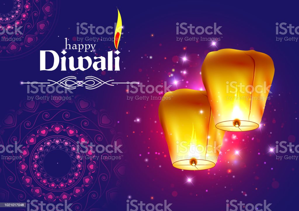 Decorated Floating sky lamp for Happy Diwali festival holiday celebration of India greeting background vector art illustration