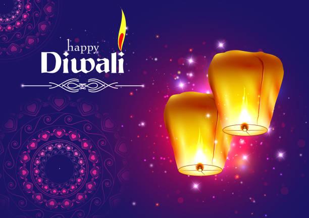 浮空ランプ挨拶背景インドのハッピーディワリ祭休日のお祝いの装飾 ベクターアートイラスト