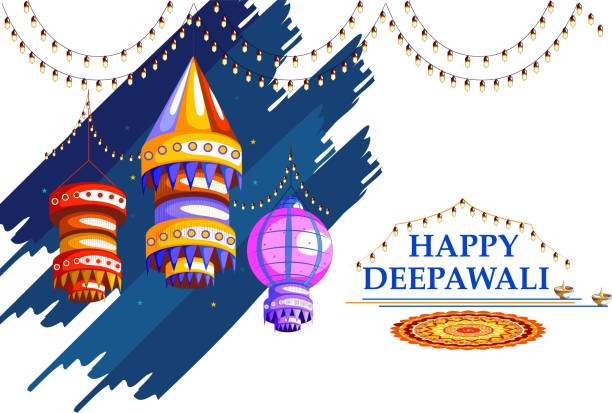 ilustraciones, imágenes clip art, dibujos animados e iconos de stock de decorated for happy diwali background - diwali