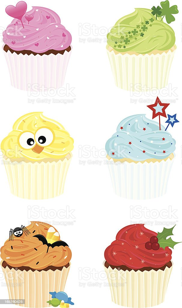 Decorated Holiday Cupcakes royalty-free stock vector art