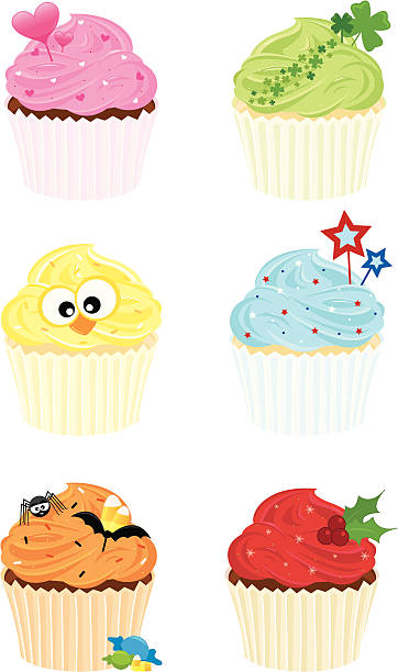 Decorated Holiday Cupcakes vector art illustration
