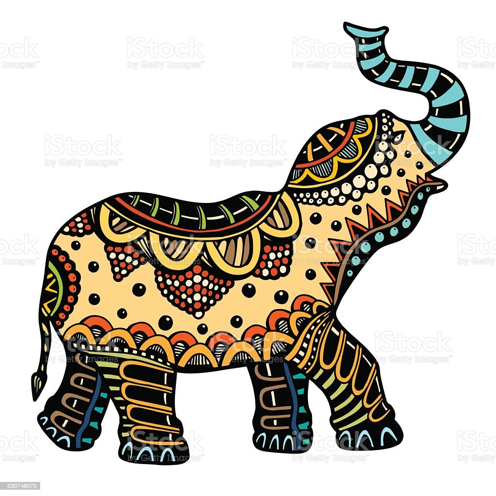 royalty free lucky elephant tattoo clip art vector images rh istockphoto com decorated indian elephant clipart indian wedding elephant clipart