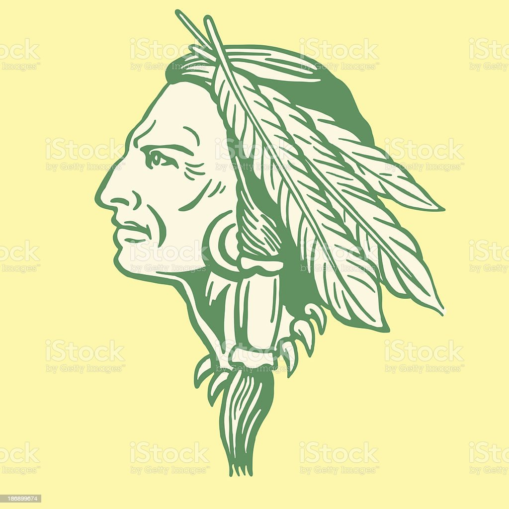 Decorated Native American man profile vector art illustration