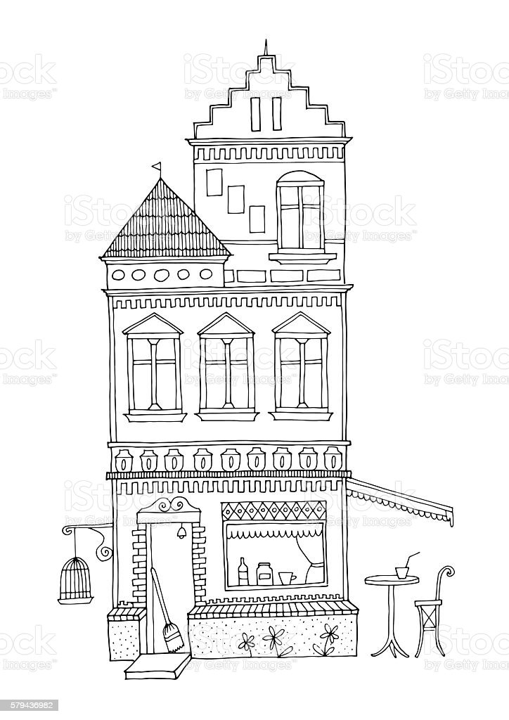 Decorated urban house with cafe bar at ground floor. vector art illustration