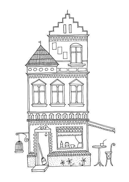 illustrations, cliparts, dessins animés et icônes de decorated urban house with cafe bar at ground floor. - dessin cage a oiseaux