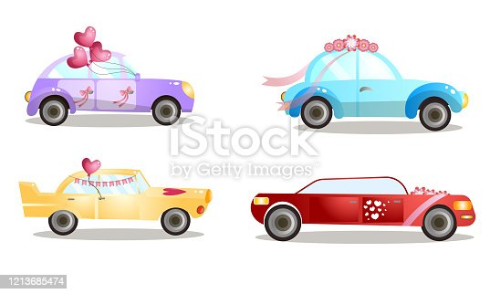 Set of isolated hand drawn decorated wedding procession cars with balloons and flowers over white background vector illustration. Marriage festive vehicle concept