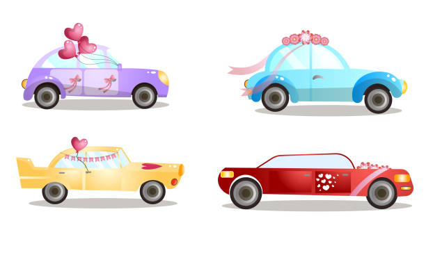 Decorated wedding procession cars with balloons and flowers vector illustration Set of isolated hand drawn decorated wedding procession cars with balloons and flowers over white background vector illustration. Marriage festive vehicle concept arrangement stock illustrations
