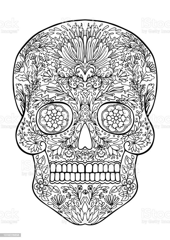 Ilustración De Decorada Con Calavera De Flores Para Colorear Página