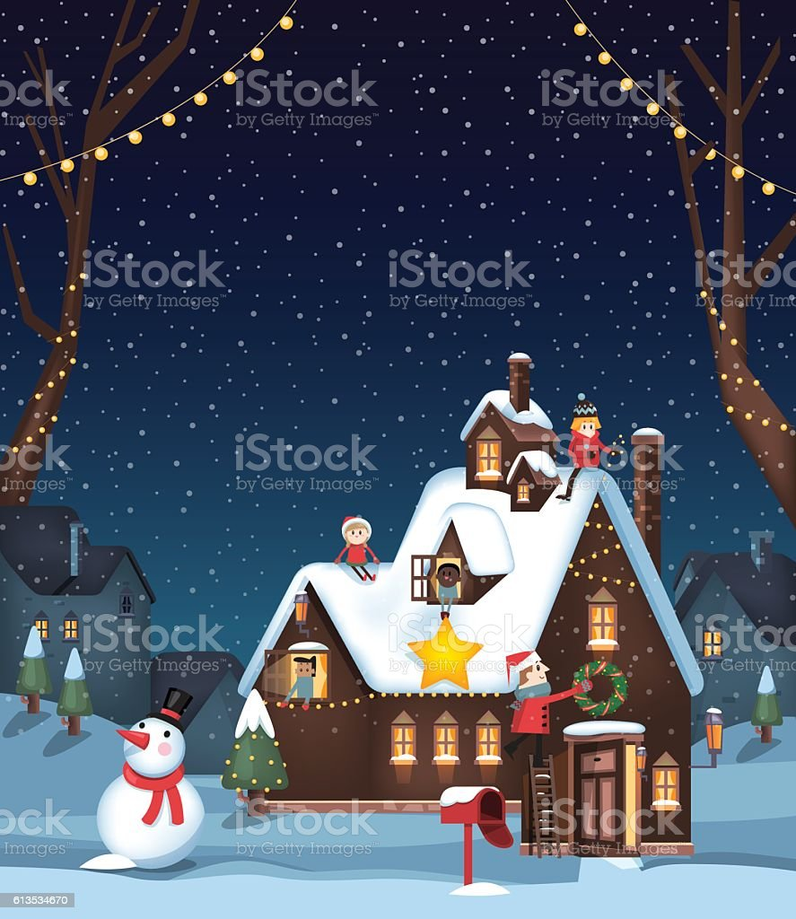 Decorating a winter house for Christmas vector art illustration