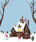 Illustration of a house decoration for winter and Christmas with kids
