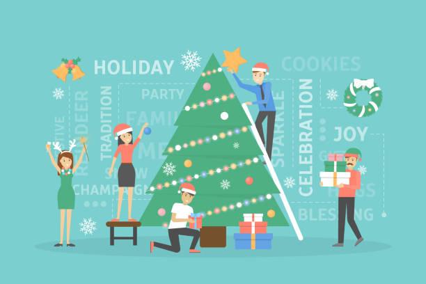 dekorieren weihnachtsbaum. - firmenweihnachtsfeier stock-grafiken, -clipart, -cartoons und -symbole
