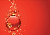 Christmas dsecoration bauble with ribbon on red background. Vector illustration made from gradient fills and gradient mesh. Additional Zip file contains: .AI(8) and High res JPEG.