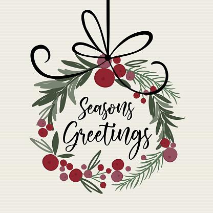 Decoration Christmas wreath looking watercolor with t'is the seasons writing, pine leaf, berries, door wreath