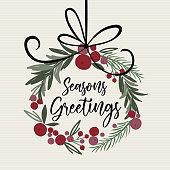 istock Decoration Christmas wreath looking watercolor with t'is the seasons writing, pine leaf, berries, door wreath 1265140956
