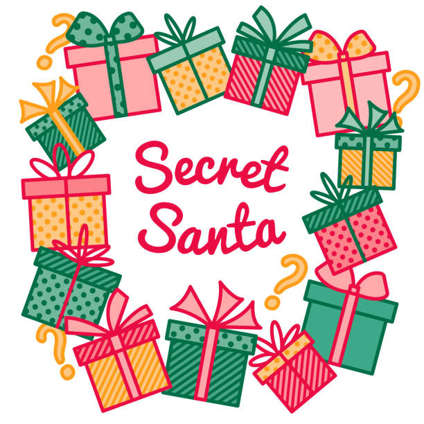 decoration for secret santa activity, frame made of wrapped gift and present boxes, outline vector - secret santa messages stock illustrations