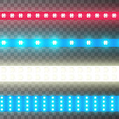 Decoration illuminated tape, led strip bright light, realistic set. Glowing lamp in line on black. Vector illustration