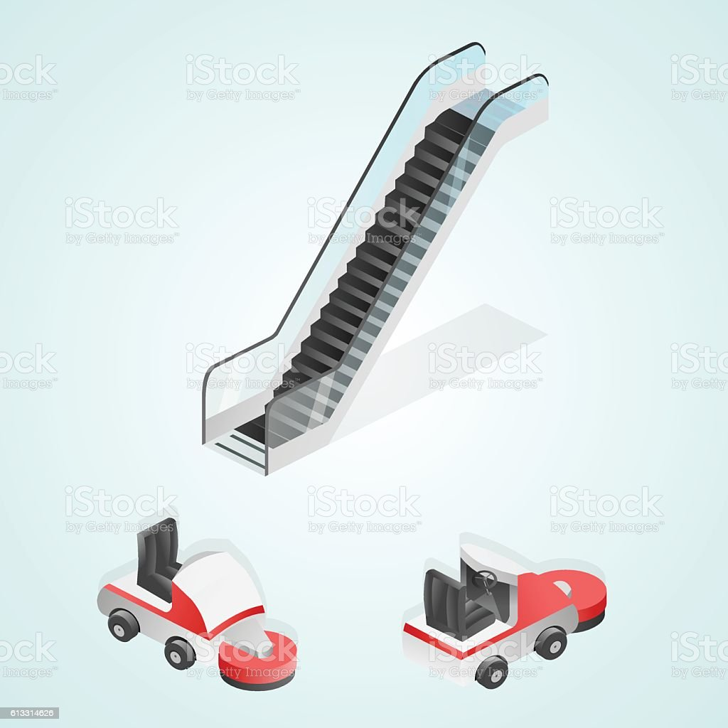 Decoration isometric elements (escalator, cleaning machinery) vector art illustration