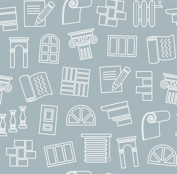 dekorationsmaterialien, konstruktion, nahtloses muster, umrisszeichnung, blau, vektor. - gesims stock-grafiken, -clipart, -cartoons und -symbole