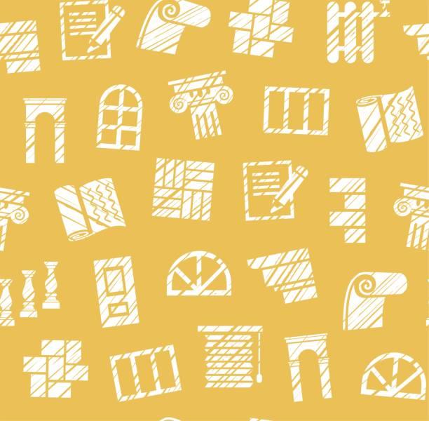 dekorationsmaterialien, konstruktion, nahtloses muster, bleistiftzeige, gelb, vektor. - gesims stock-grafiken, -clipart, -cartoons und -symbole