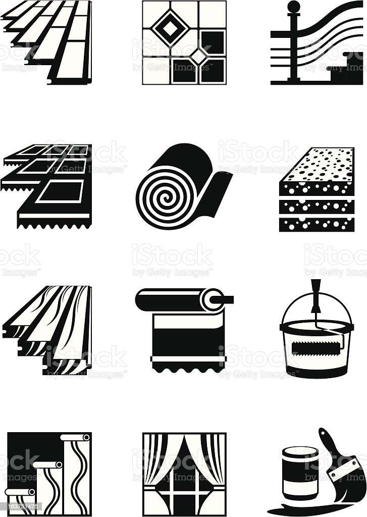 Decoration materials for interior vector art illustration