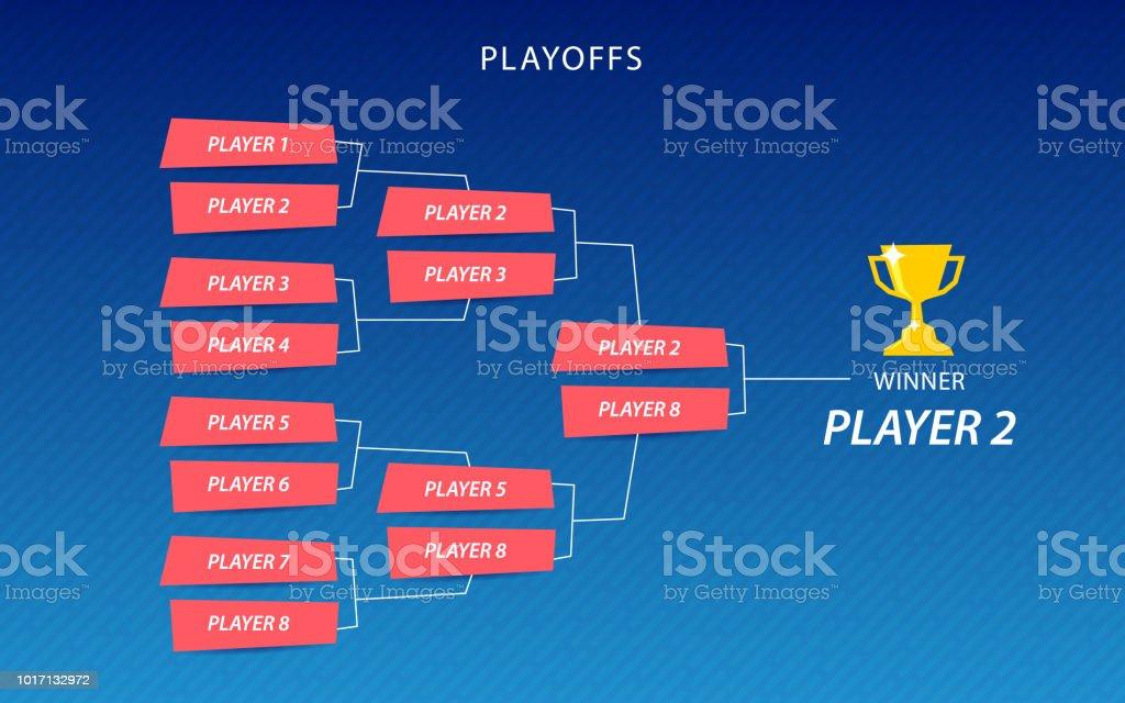 Decoration of playoffs schedule template on blue background. Creative Design Tournament Bracket. vector art illustration
