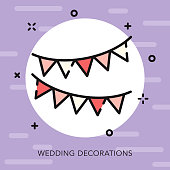 A flat design/thin line wedding icon with small openings in the outlines to add some character. Color swatches are global so it's easy to edit and change the colors. File is built in CMYK for optimal printing and the background is on a separate layer.