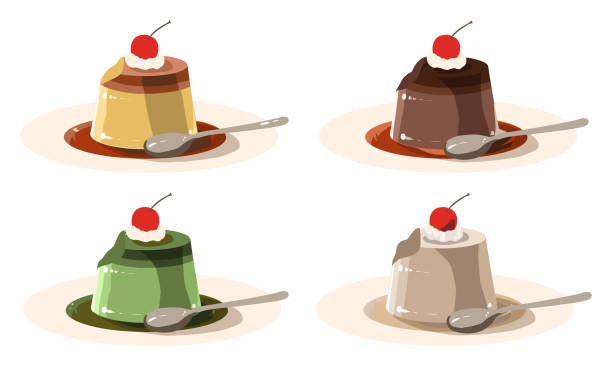 私が食べたデコレーションプディング(ラインなし) - プリン スプーン点のイラスト素材/クリップアート素材/マンガ素材/アイコン素材
