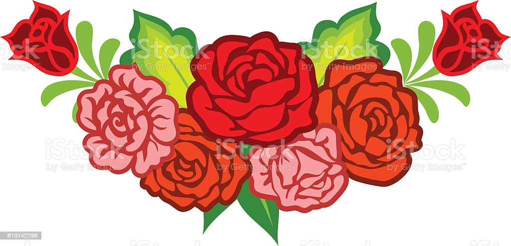 Decoration with mexican flowers vector art illustration