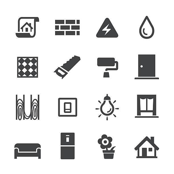 dekoration workflow-icons-acme serie - neues zuhause stock-grafiken, -clipart, -cartoons und -symbole