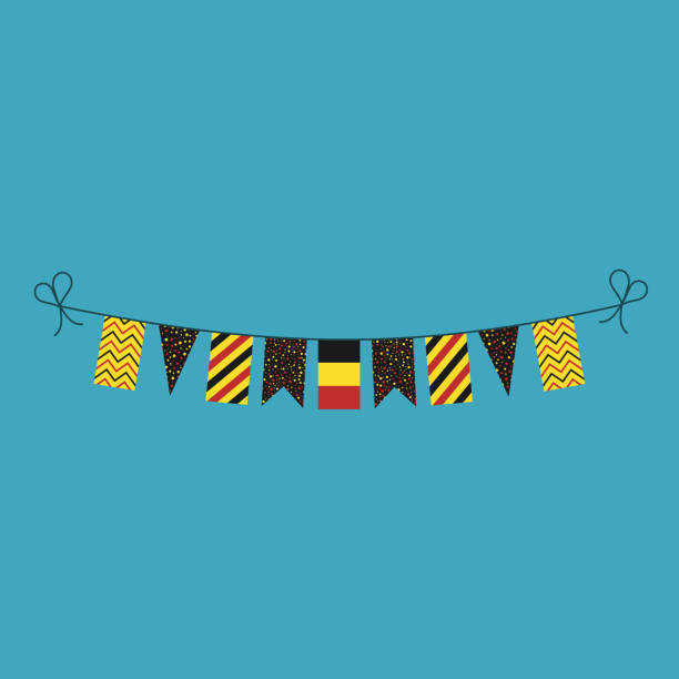 Decorations bunting flags for Belgium national day holiday in flat design vector art illustration