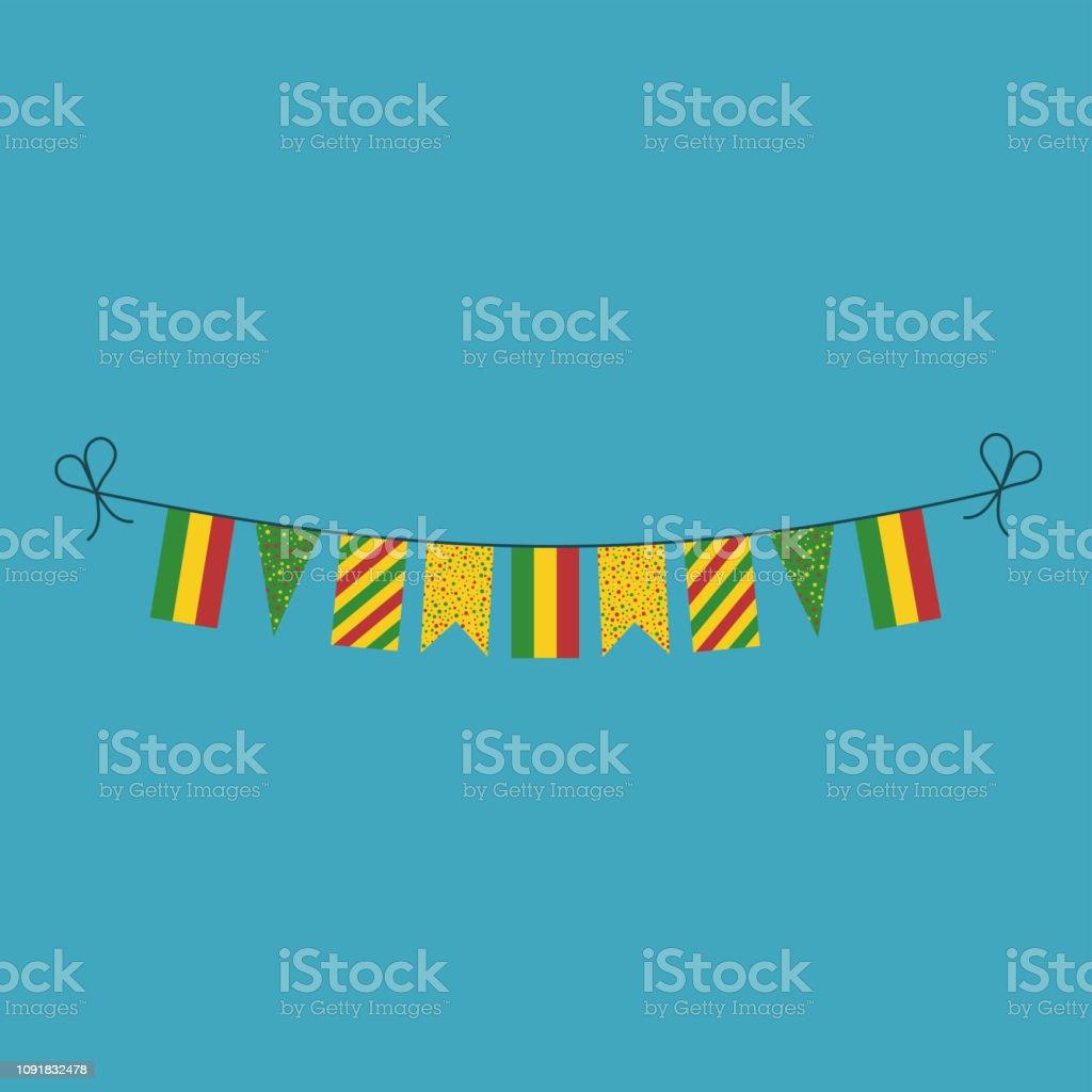 Decoraciones de banderines banderas de Bolivia vacaciones de día nacional en diseño plano - ilustración de arte vectorial