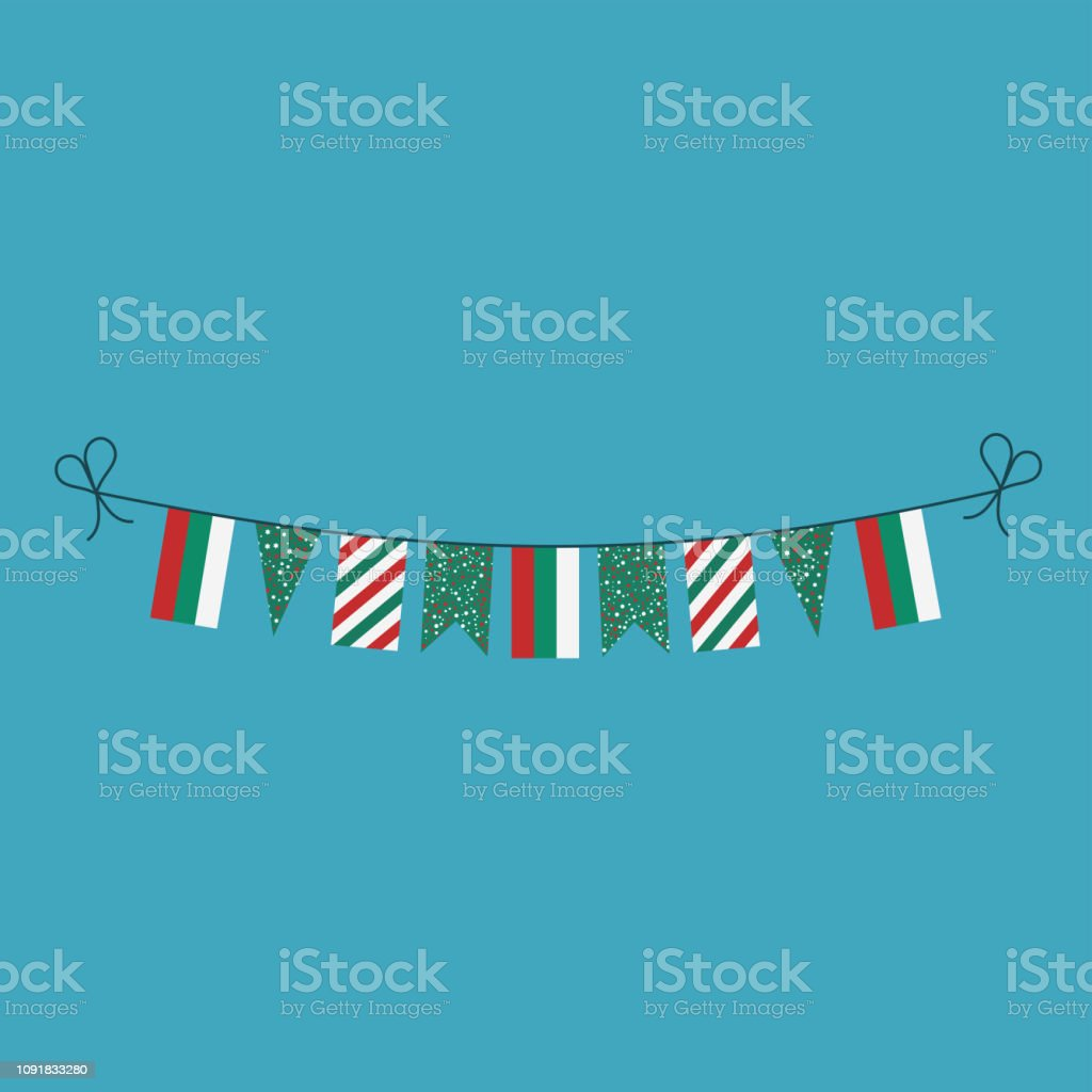 Decorations bunting flags for Bulgaria national day holiday in flat design vector art illustration
